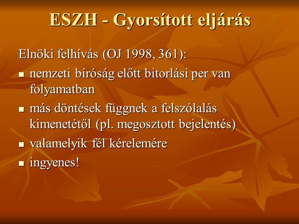 ESZH - Gyorsított eljárás Elnöki felhívás (OJ 1998, 361): nemzeti bíróság előtt bitorlási per van folyamatban nemzeti bíróság előtt bitorlási per van