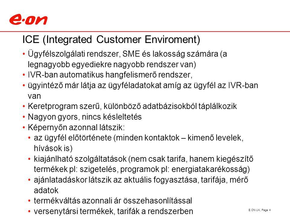 ICE (Integrated Customer Enviroment) Ügyfélszolgálati rendszer, SME és lakosság számára (a legnagyobb egyediekre nagyobb rendszer van) IVR-ban automatikus hangfelismerő rendszer, ügyintéző már látja az ügyféladatokat amíg az ügyfél az IVR-ban van Keretprogram szerű, különböző adatbázisokból táplálkozik Nagyon gyors, nincs késleltetés Képernyőn azonnal látszik: az ügyfél előtörténete (minden kontaktok – kimenő levelek, hívások is) kiajánlható szolgáltatások (nem csak tarifa, hanem kiegészítő termékek pl: szigetelés, programok pl: energiatakarékosság) ajánlatadáskor látszik az aktuális fogyasztása, tarifája, mérő adatok termékváltás azonnali ár összehasonlítással versenytársi termékek, tarifák a rendszerben Ajánlat elfogadása esetén automatikus levélküldés az ügyfélnek és kereskedőváltás indítás E.ON UK, Page 4