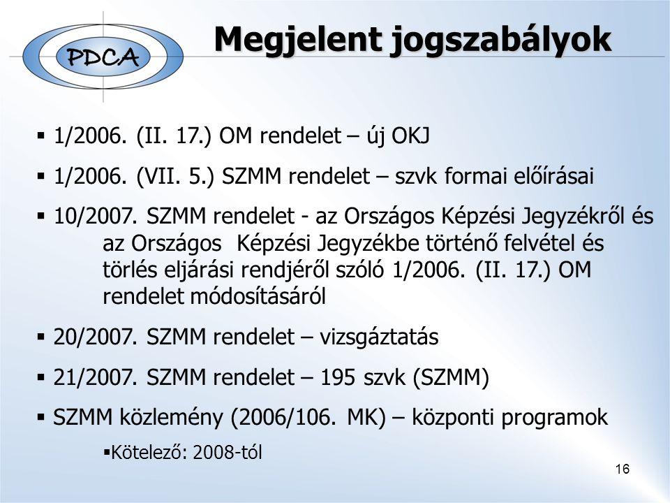 16 Megjelent jogszabályok  1/2006. (II. 17.) OM rendelet – új OKJ  1/2006. (VII. 5.) SZMM rendelet – szvk formai előírásai  10/2007. SZMM rendelet