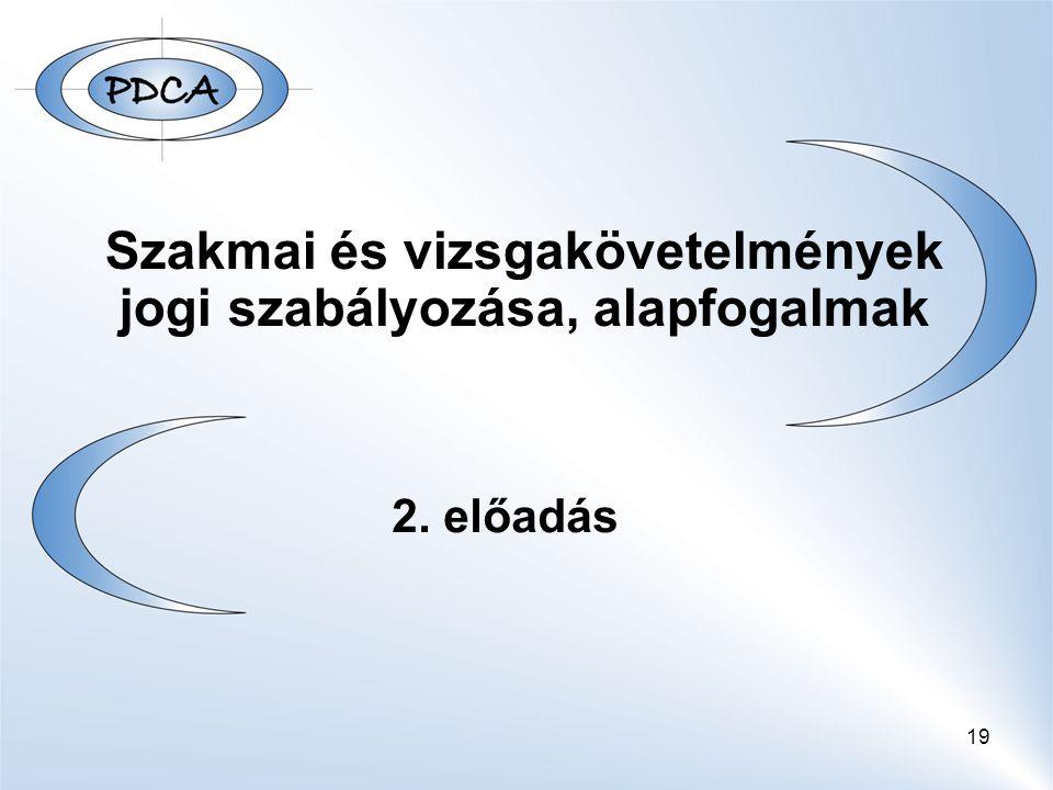 19 Szakmai és vizsgakövetelmények jogi szabályozása, alapfogalmak 2. előadás