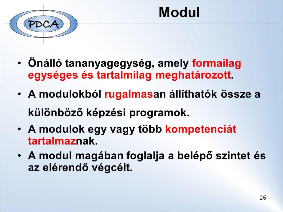 25 Modul Önálló tananyagegység, amely formailag egységes és tartalmilag meghatározott. A modulokból rugalmasan állíthatók össze a különböző képzési pr
