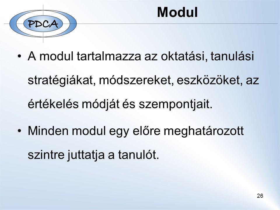 26 Modul A modul tartalmazza az oktatási, tanulási stratégiákat, módszereket, eszközöket, az értékelés módját és szempontjait. Minden modul egy előre