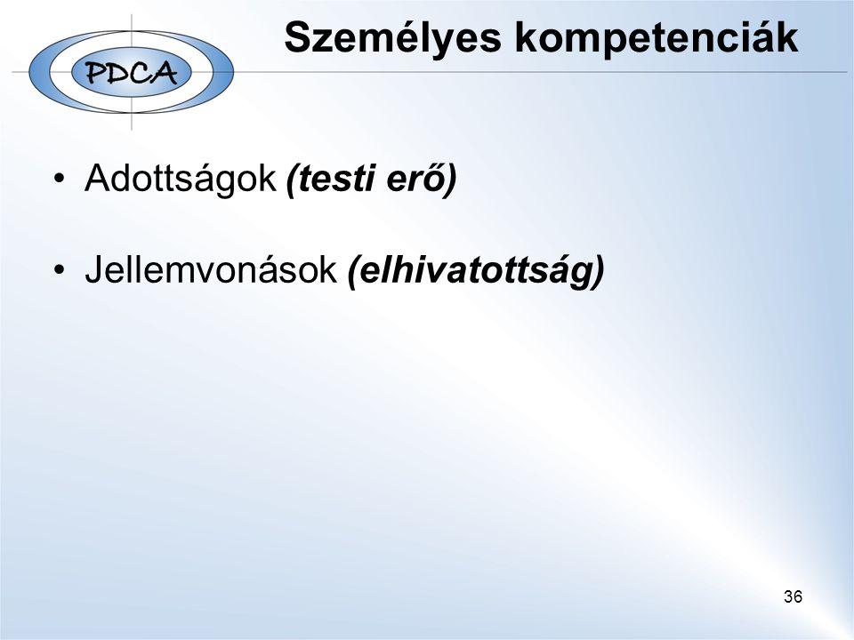 36 Személyes kompetenciák Adottságok (testi erő) Jellemvonások (elhivatottság)