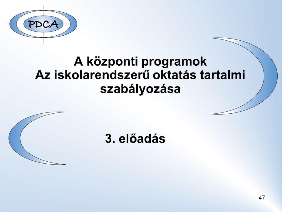 47 A központi programok Az iskolarendszerű oktatás tartalmi szabályozása 3. előadás