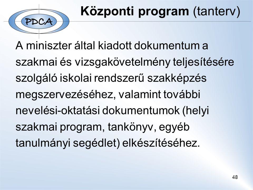 48 Központi program (tanterv) A miniszter által kiadott dokumentum a szakmai és vizsgakövetelmény teljesítésére szolgáló iskolai rendszerű szakképzés megszervezéséhez, valamint további nevelési-oktatási dokumentumok (helyi szakmai program, tankönyv, egyéb tanulmányi segédlet) elkészítéséhez.