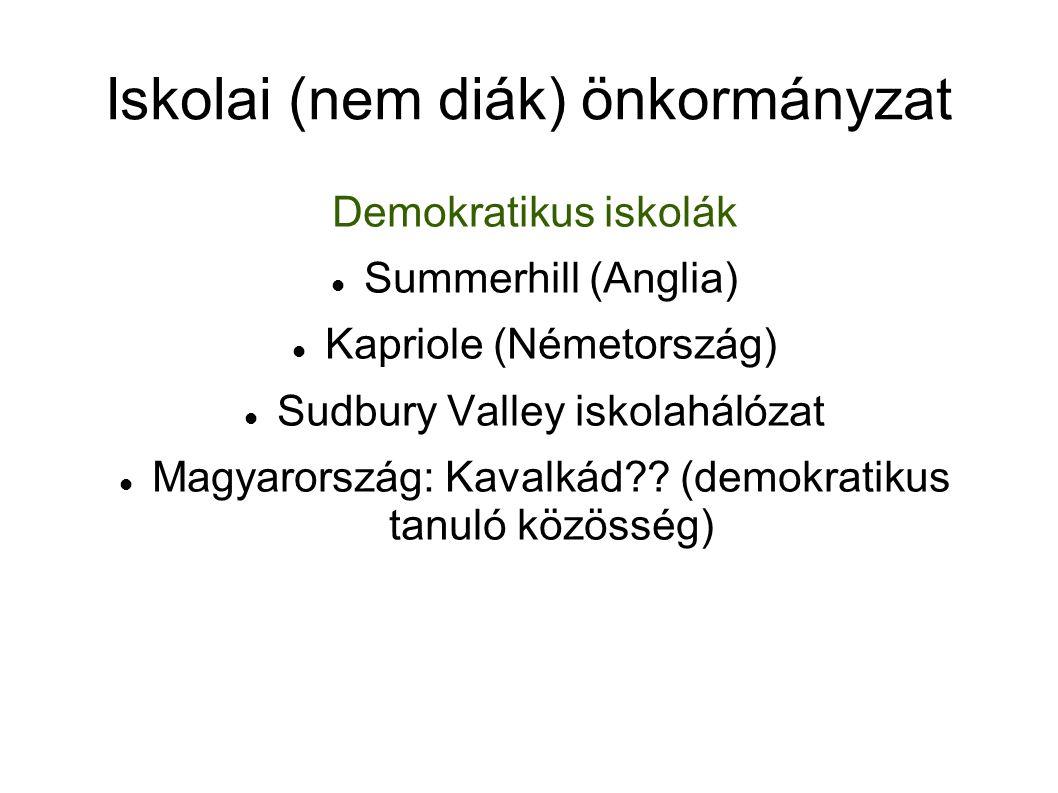 Iskolai (nem diák) önkormányzat Demokratikus iskolák Summerhill (Anglia) Kapriole (Németország) Sudbury Valley iskolahálózat Magyarország: Kavalkád .