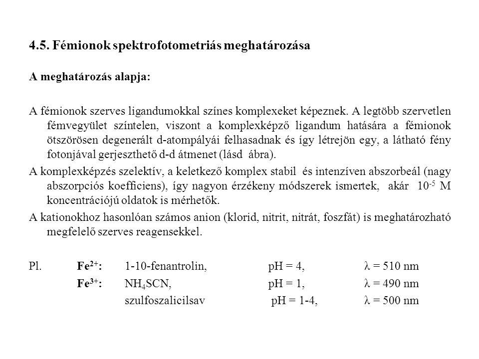 4.5. Fémionok spektrofotometriás meghatározása A meghatározás alapja: A fémionok szerves ligandumokkal színes komplexeket képeznek. A legtöbb szervetl