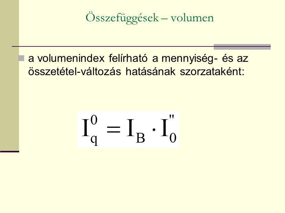 Összefüggések – volumen a volumenindex felírható a mennyiség- és az összetétel-változás hatásának szorzataként:
