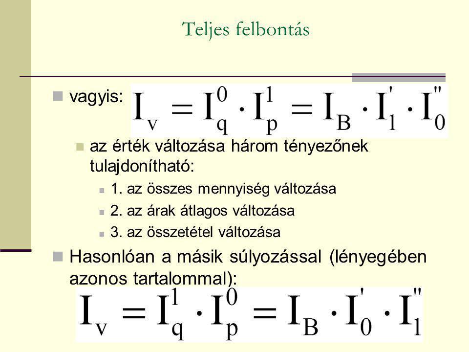 Teljes felbontás vagyis: az érték változása három tényezőnek tulajdonítható: 1. az összes mennyiség változása 2. az árak átlagos változása 3. az össze