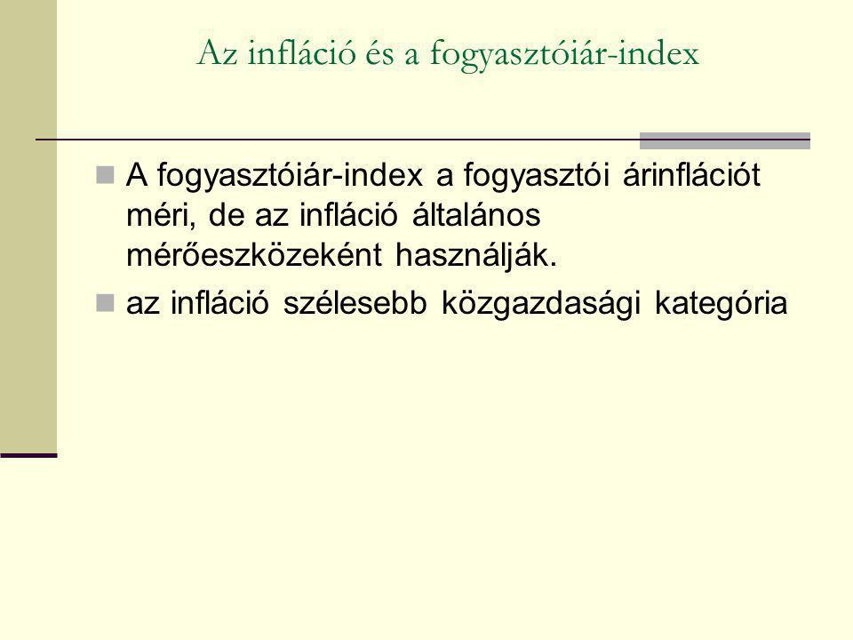 Az infláció és a fogyasztóiár-index A fogyasztóiár-index a fogyasztói árinflációt méri, de az infláció általános mérőeszközeként használják. az inflác