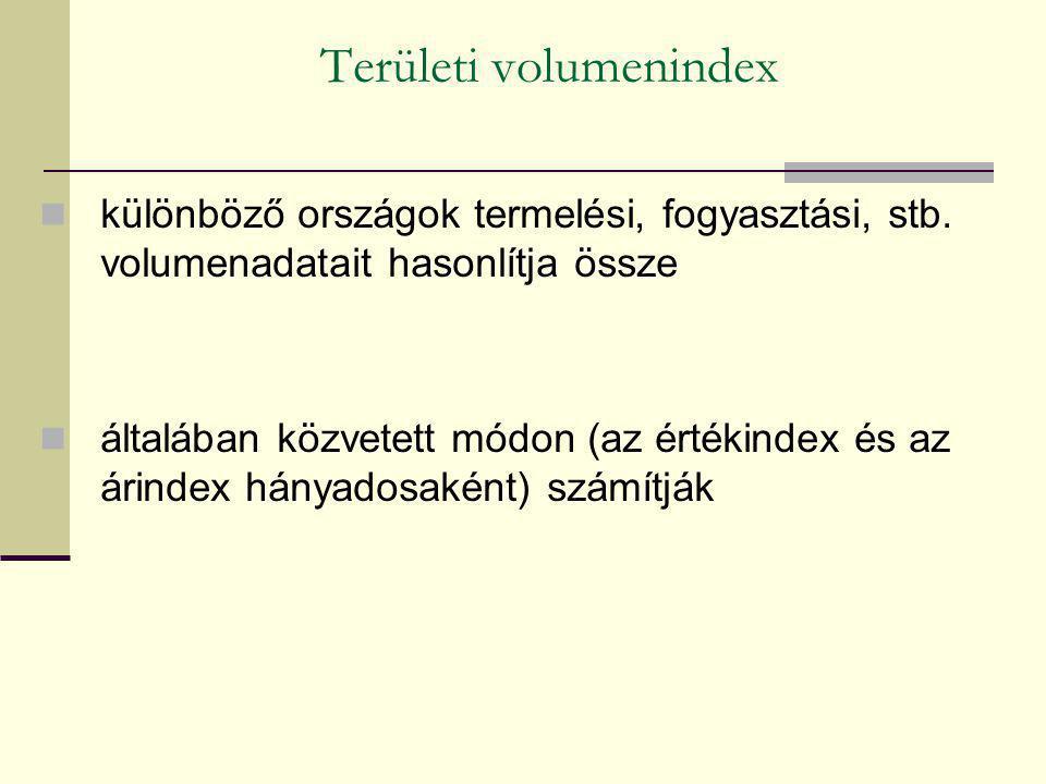 Területi volumenindex különböző országok termelési, fogyasztási, stb. volumenadatait hasonlítja össze általában közvetett módon (az értékindex és az á