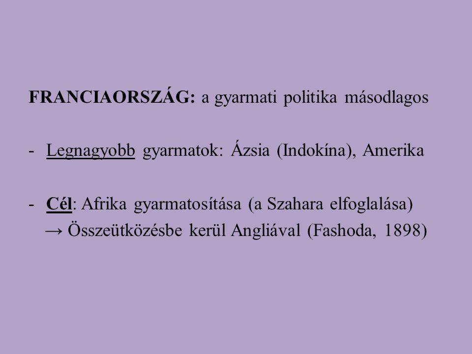 FRANCIAORSZÁG: a gyarmati politika másodlagos -Legnagyobb gyarmatok: Ázsia (Indokína), Amerika -Cél: Afrika gyarmatosítása (a Szahara elfoglalása) → Összeütközésbe kerül Angliával (Fashoda, 1898)