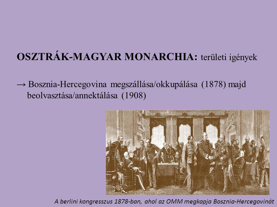 OSZTRÁK-MAGYAR MONARCHIA: területi igények → Bosznia-Hercegovina megszállása/okkupálása (1878) majd beolvasztása/annektálása (1908) A berlini kongresszus 1878-ban, ahol az OMM megkapja Bosznia-Hercegovinát