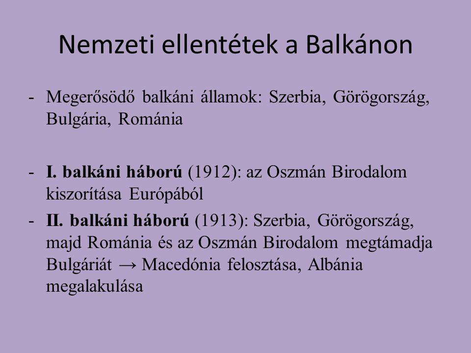 Nemzeti ellentétek a Balkánon -Megerősödő balkáni államok: Szerbia, Görögország, Bulgária, Románia -I.