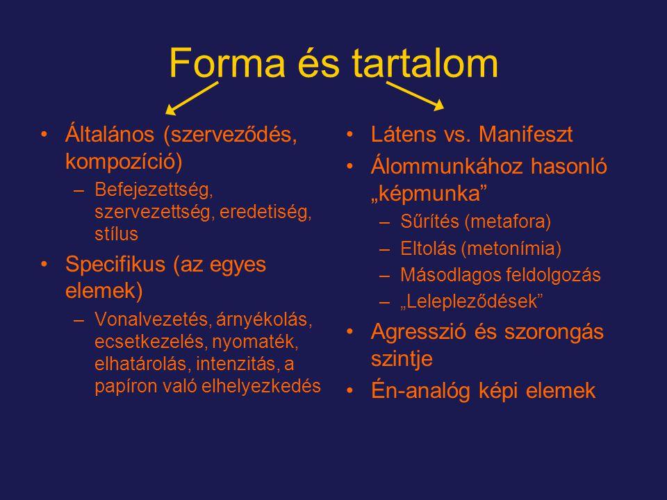 Forma és tartalom Általános (szerveződés, kompozíció) –Befejezettség, szervezettség, eredetiség, stílus Specifikus (az egyes elemek) –Vonalvezetés, árnyékolás, ecsetkezelés, nyomaték, elhatárolás, intenzitás, a papíron való elhelyezkedés Látens vs.