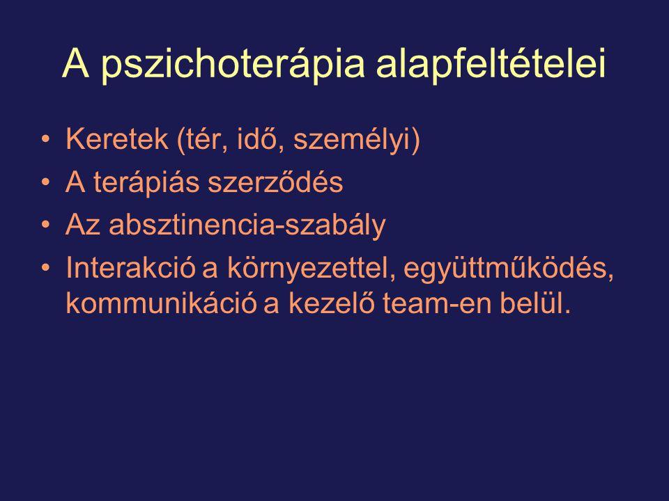 A pszichoterápia alapfeltételei Keretek (tér, idő, személyi) A terápiás szerződés Az absztinencia-szabály Interakció a környezettel, együttműködés, kommunikáció a kezelő team-en belül.