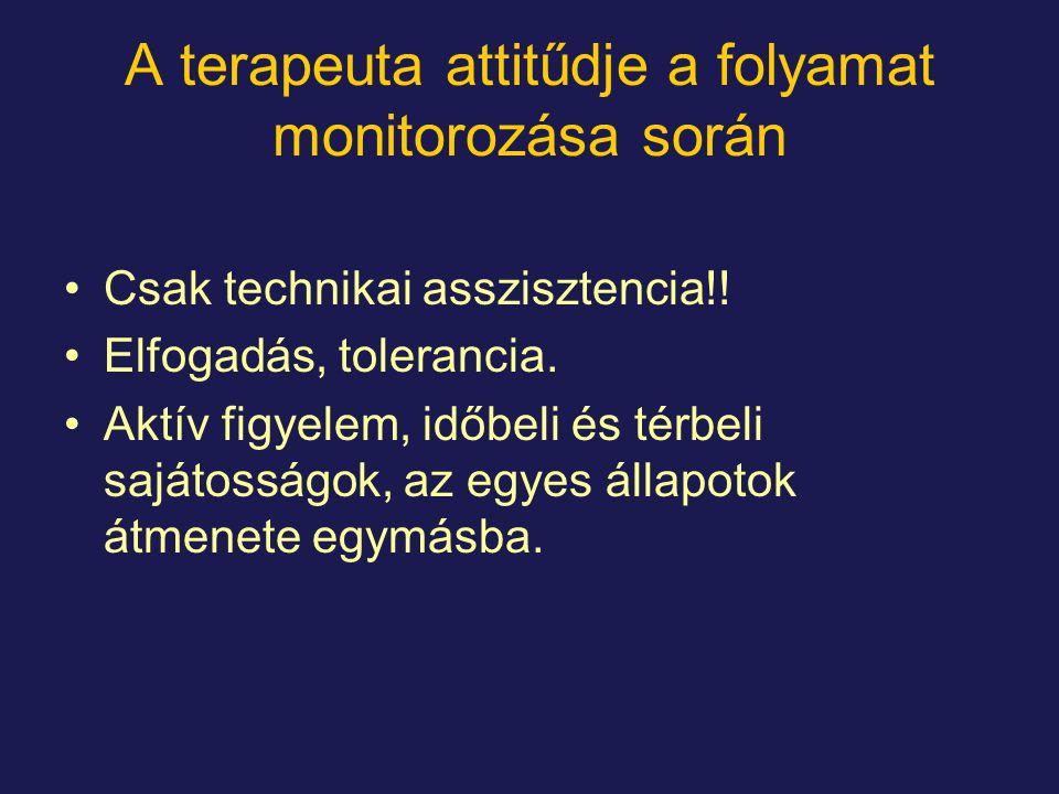 A terapeuta attitűdje a folyamat monitorozása során Csak technikai asszisztencia!.