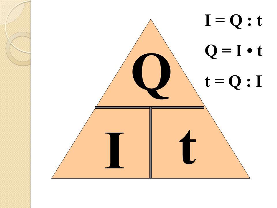 t I Q I = Q : t Q = I t t = Q : I
