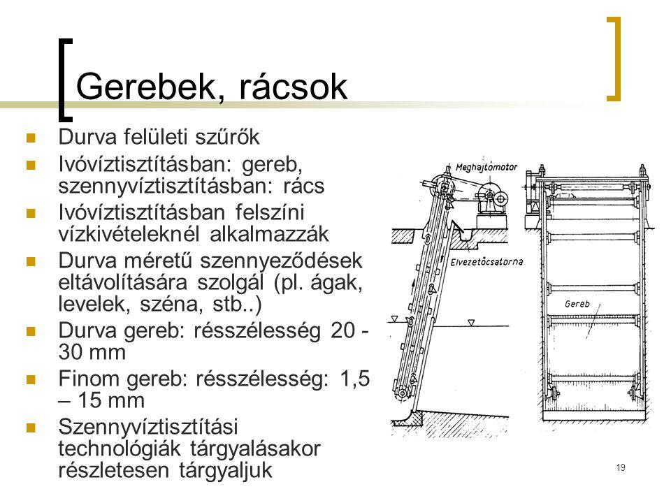 19 Gerebek, rácsok Durva felületi szűrők Ivóvíztisztításban: gereb, szennyvíztisztításban: rács Ivóvíztisztításban felszíni vízkivételeknél alkalmazzá