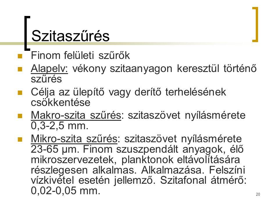 20 Szitaszűrés Finom felületi szűrők Alapelv: vékony szitaanyagon keresztül történő szűrés Célja az ülepítő vagy derítő terhelésének csökkentése Makro