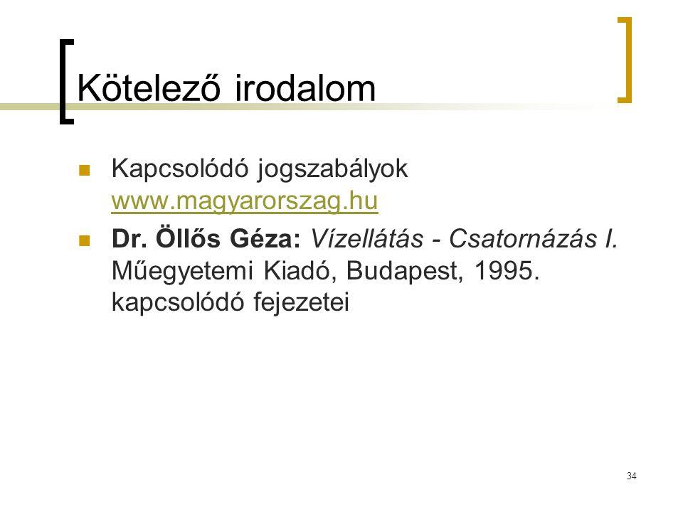 Kötelező irodalom Kapcsolódó jogszabályok www.magyarorszag.hu www.magyarorszag.hu Dr. Öllős Géza: Vízellátás - Csatornázás I. Műegyetemi Kiadó, Budape