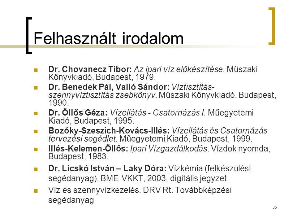 35 Felhasznált irodalom Dr. Chovanecz Tibor: Az ipari víz előkészítése. Műszaki Könyvkiadó, Budapest, 1979. Dr. Benedek Pál, Valló Sándor: Víztisztítá