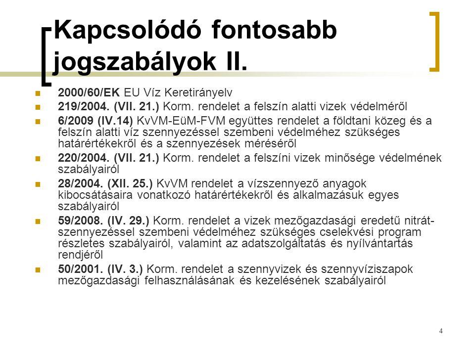 4 Kapcsolódó fontosabb jogszabályok II. 2000/60/EK EU Víz Keretirányelv 219/2004. (VII. 21.) Korm. rendelet a felszín alatti vizek védelméről 6/2009 (