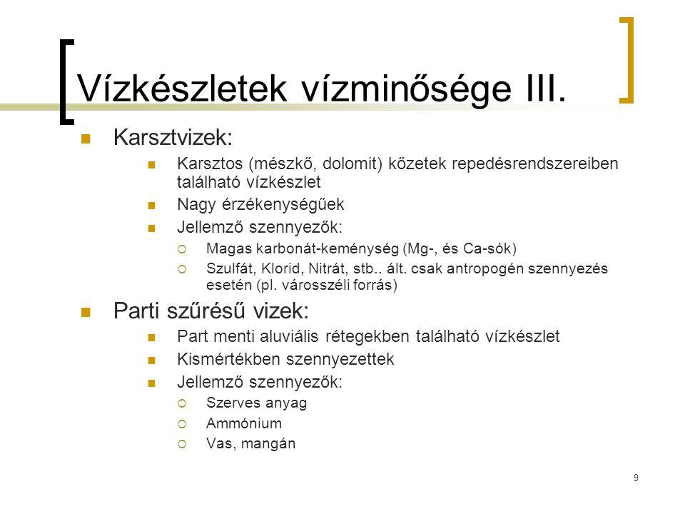 9 Vízkészletek vízminősége III. Karsztvizek: Karsztos (mészkő, dolomit) kőzetek repedésrendszereiben található vízkészlet Nagy érzékenységűek Jellemző