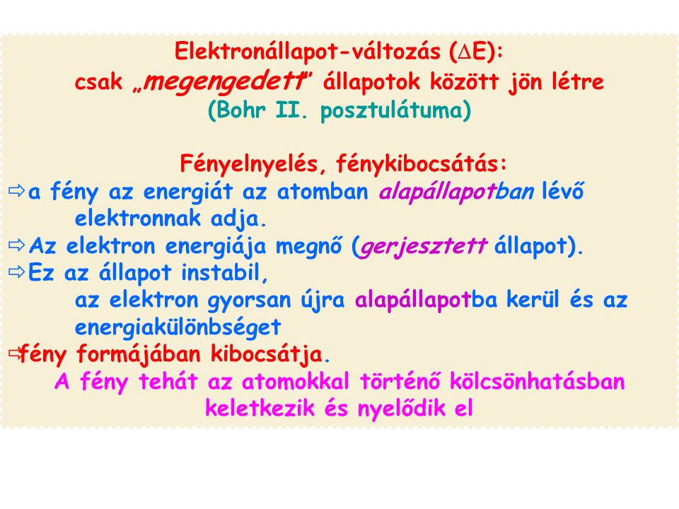 """Elektronállapot-változás (  E): csak """" megengedett állapotok között jön létre (Bohr II."""