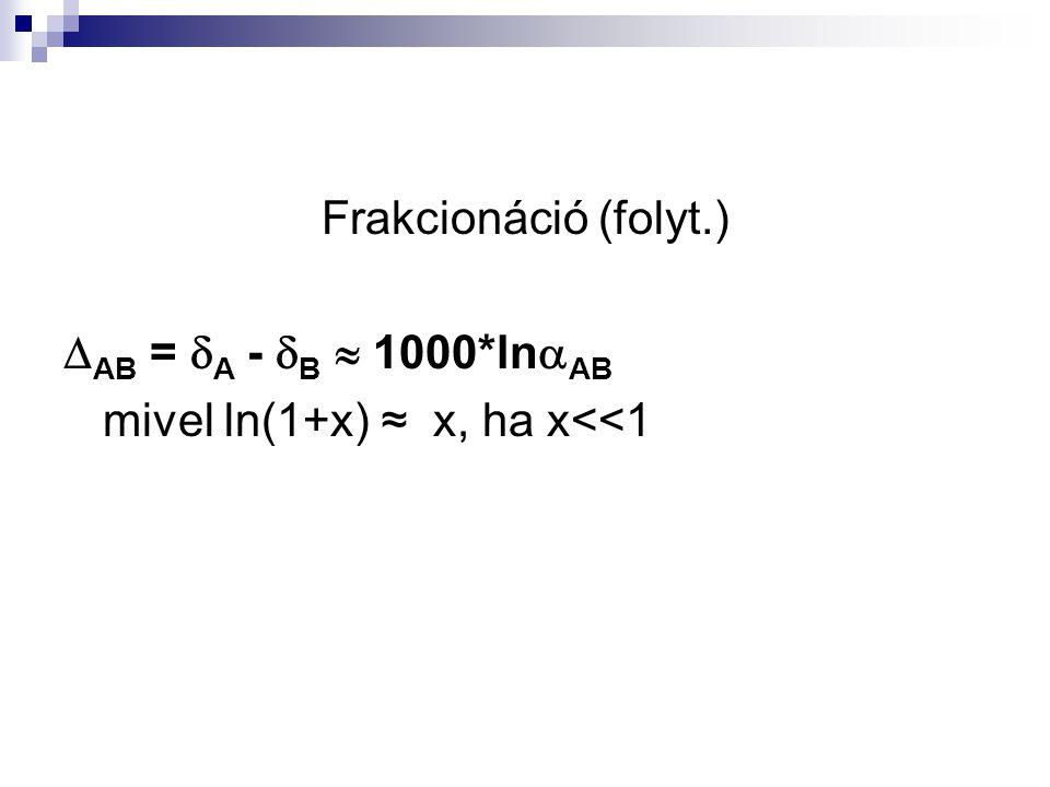 Frakcionáció (folyt.)  AB =  A -  B  1000*ln  AB mivel ln(1+x) ≈ x, ha x<<1