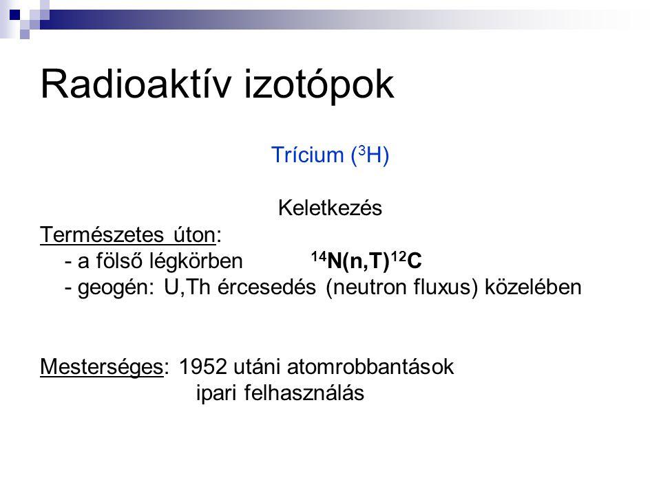 Radioaktív izotópok Trícium ( 3 H) Keletkezés Természetes úton: - a fölső légkörben 14 N(n,T) 12 C - geogén: U,Th ércesedés (neutron fluxus) közelében