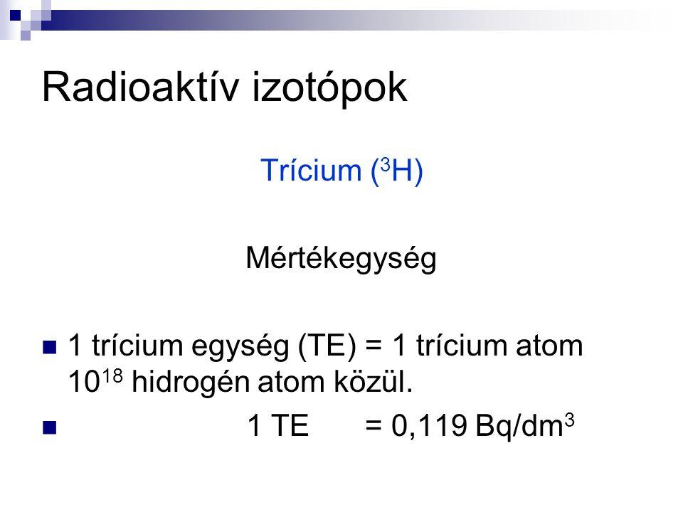 Radioaktív izotópok Trícium ( 3 H) Mértékegység 1 trícium egység (TE) = 1 trícium atom 10 18 hidrogén atom közül. 1 TE = 0,119 Bq/dm 3