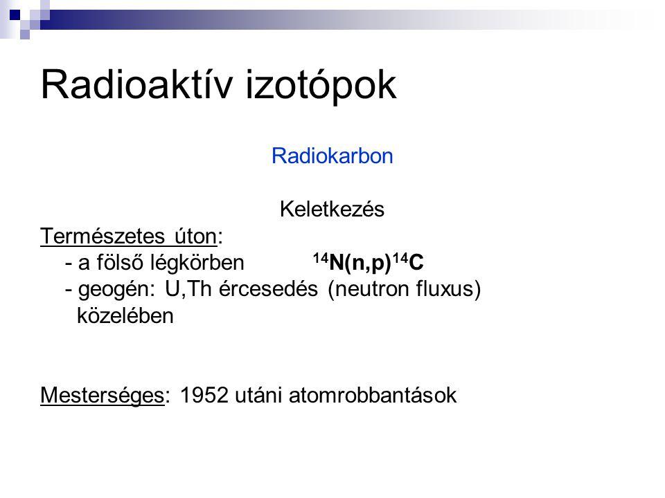 Radioaktív izotópok Radiokarbon Keletkezés Természetes úton: - a fölső légkörben 14 N(n,p) 14 C - geogén: U,Th ércesedés (neutron fluxus) közelében Me