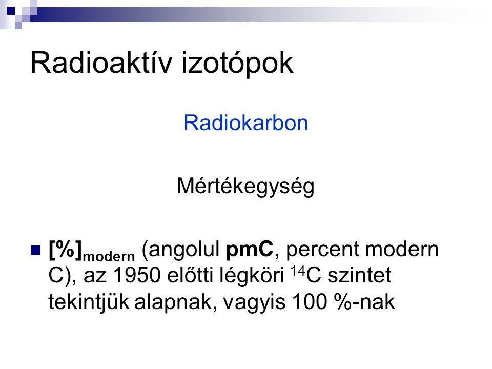 Radioaktív izotópok Radiokarbon Mértékegység [%] modern (angolul pmC, percent modern C), az 1950 előtti légköri 14 C szintet tekintjük alapnak, vagyis