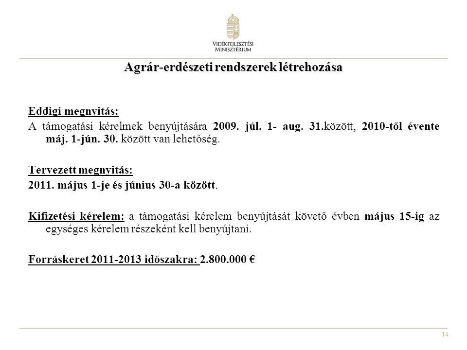 14 Agrár-erdészeti rendszerek létrehozása Eddigi megnyitás: A támogatási kérelmek benyújtására 2009. júl. 1- aug. 31.között, 2010-től évente máj. 1-jú