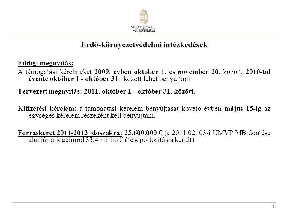 17 Erdő-környezetvédelmi intézkedések Eddigi megnyitás: A támogatási kérelmeket 2009. évben október 1. és november 20. között, 2010-től évente október