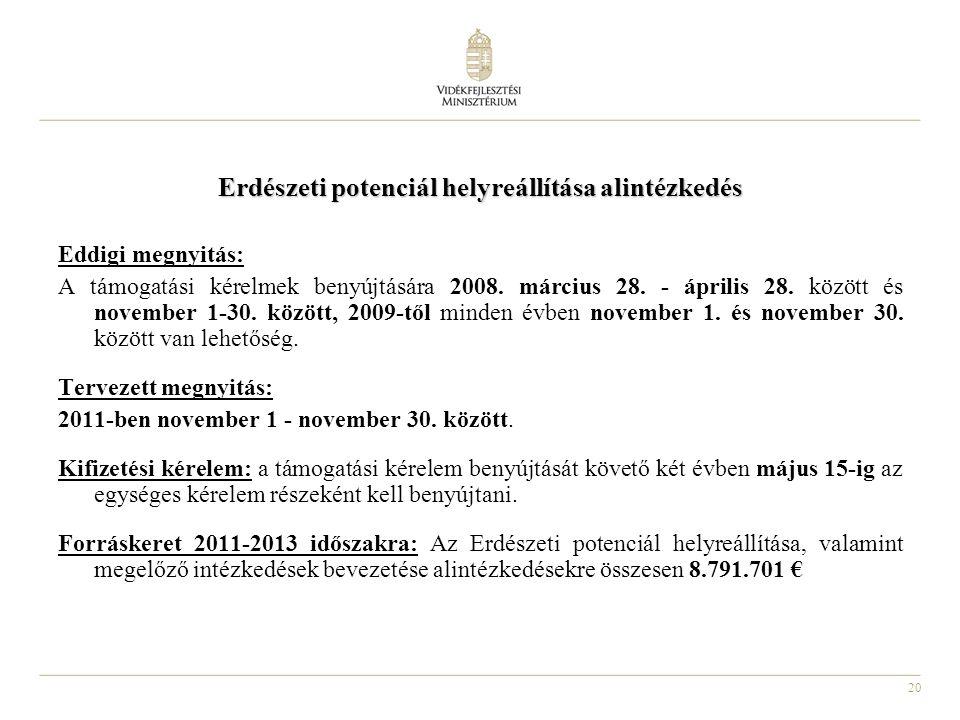 20 Erdészeti potenciál helyreállítása alintézkedés Eddigi megnyitás: A támogatási kérelmek benyújtására 2008.