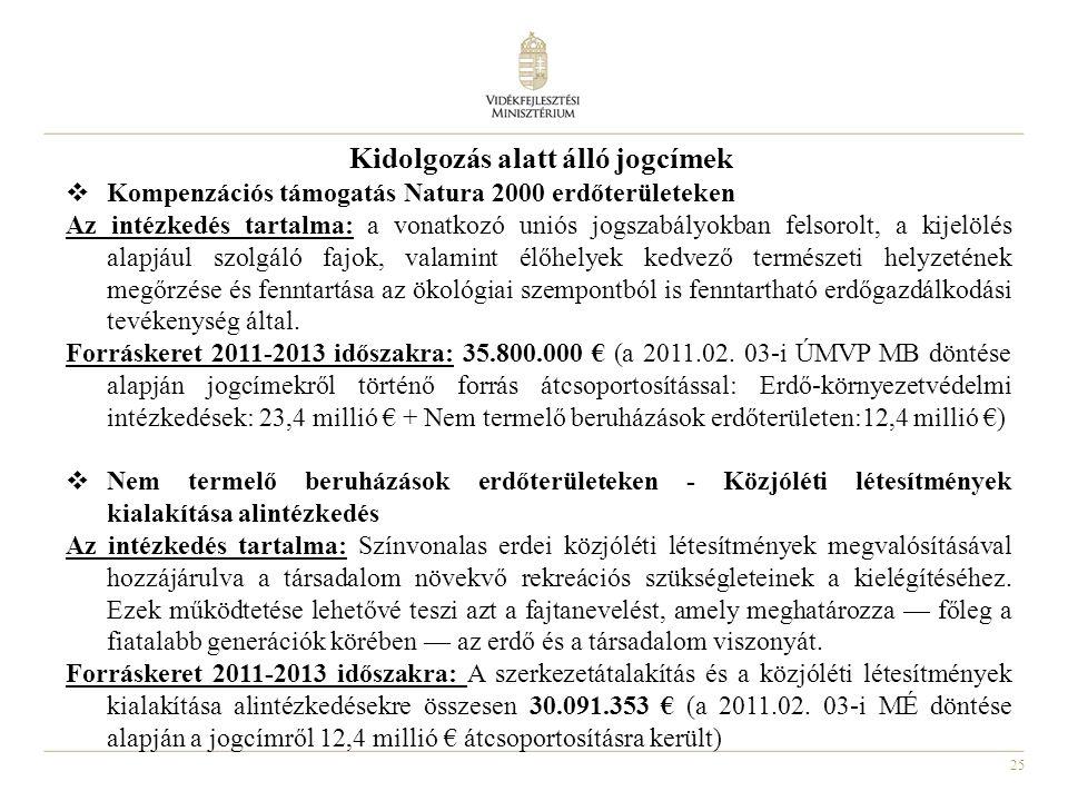 25 Kidolgozás alatt álló jogcímek  Kompenzációs támogatás Natura 2000 erdőterületeken Az intézkedés tartalma: a vonatkozó uniós jogszabályokban felsorolt, a kijelölés alapjául szolgáló fajok, valamint élőhelyek kedvező természeti helyzetének megőrzése és fenntartása az ökológiai szempontból is fenntartható erdőgazdálkodási tevékenység által.