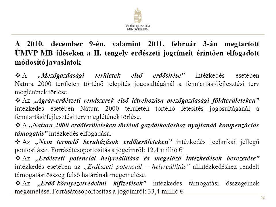 28 A 2010. december 9-én, valamint 2011. február 3-án megtartott ÚMVP MB üléseken a II. tengely erdészeti jogcímeit érintően elfogadott módosító javas