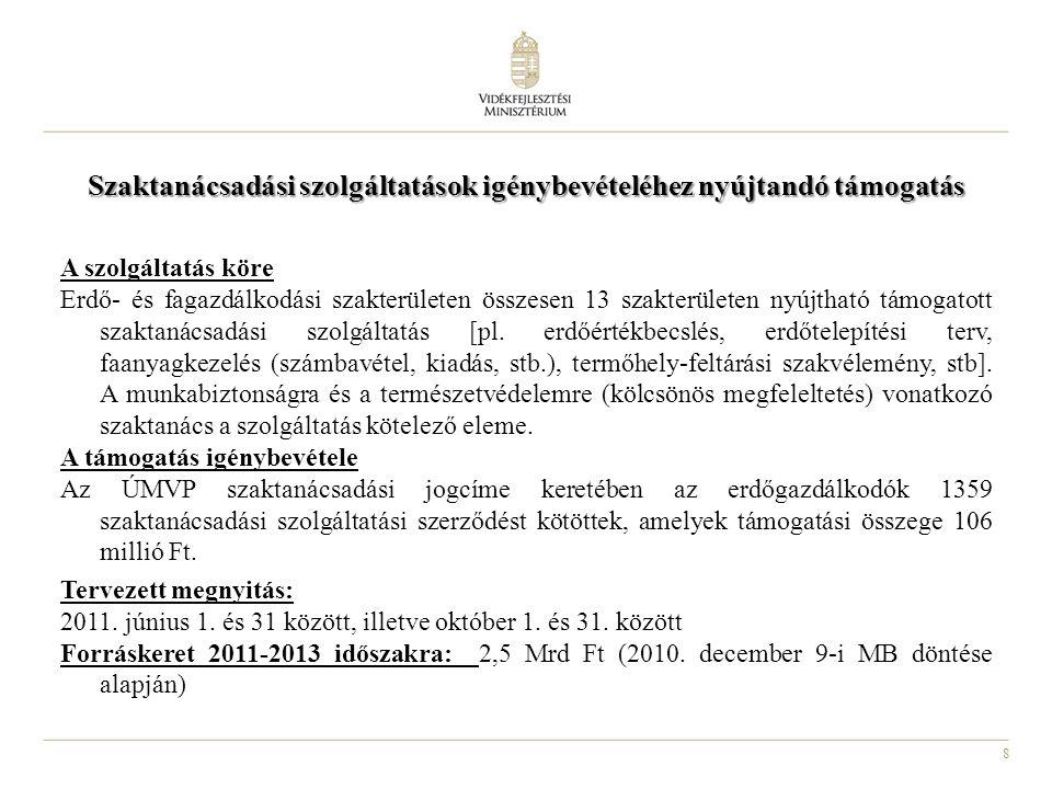 8 Szaktanácsadási szolgáltatások igénybevételéhez nyújtandó támogatás A szolgáltatás köre Erdő- és fagazdálkodási szakterületen összesen 13 szakterüle