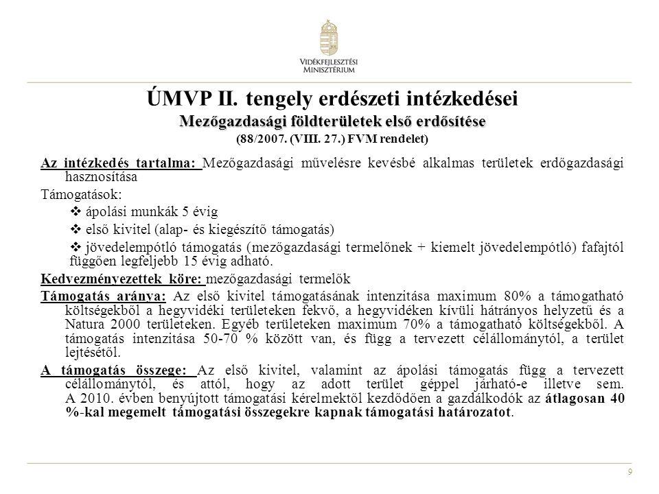 9 ÚMVP II. tengely erdészeti intézkedései Mezőgazdasági földterületek első erdősítése (88/2007. (VIII. 27.) FVM rendelet) Az intézkedés tartalma: Mező