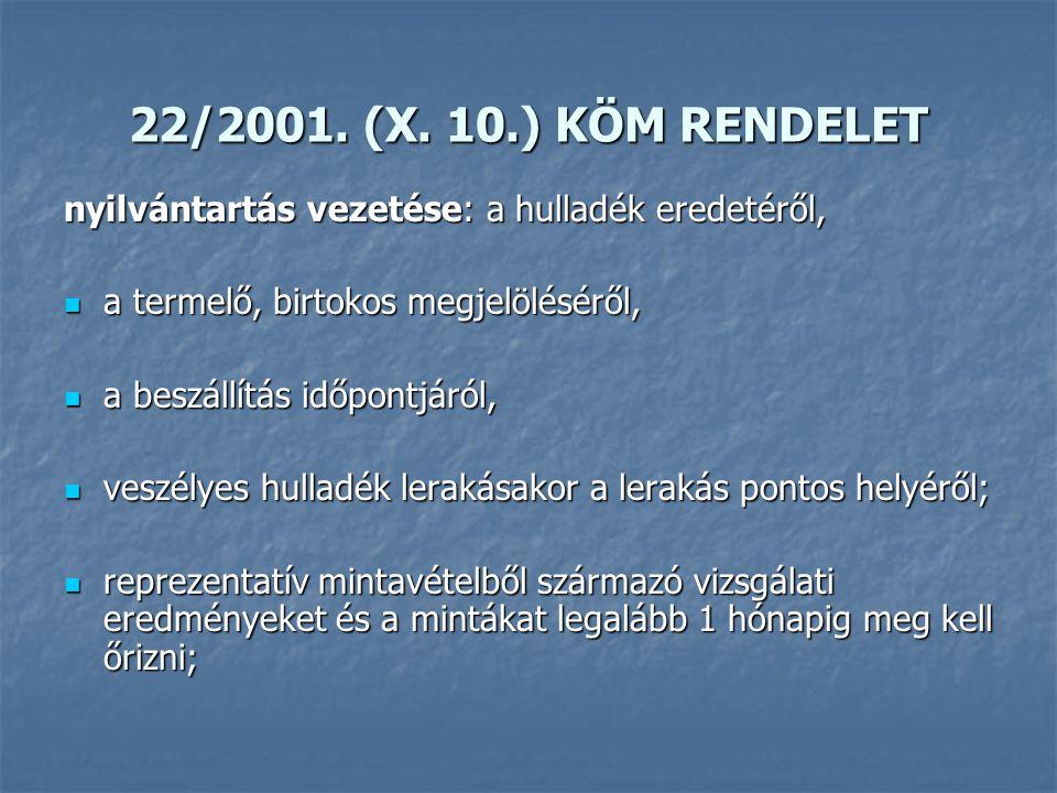 22/2001. (X. 10.) KÖM RENDELET nyilvántartás vezetése: a hulladék eredetéről, a termelő, birtokos megjelöléséről, a termelő, birtokos megjelöléséről,