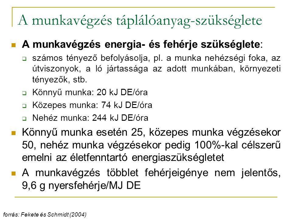 A munkavégzés táplálóanyag-szükséglete A munkavégzés energia- és fehérje szükséglete:  számos tényező befolyásolja, pl.