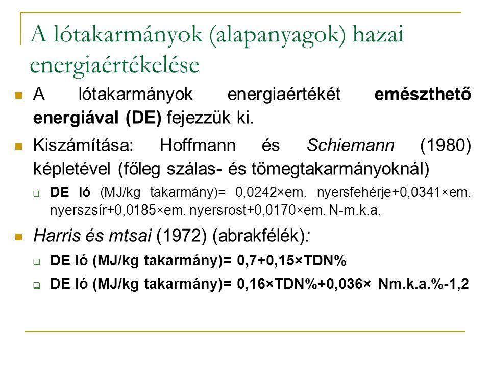 A lótakarmányok (alapanyagok) hazai energiaértékelése A lótakarmányok energiaértékét emészthető energiával (DE) fejezzük ki. Kiszámítása: Hoffmann és