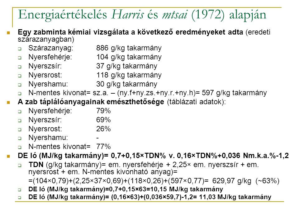 Energiaértékelés Harris és mtsai (1972) alapján Egy zabminta kémiai vizsgálata a következő eredményeket adta (eredeti szárazanyagban)  Szárazanyag: 8