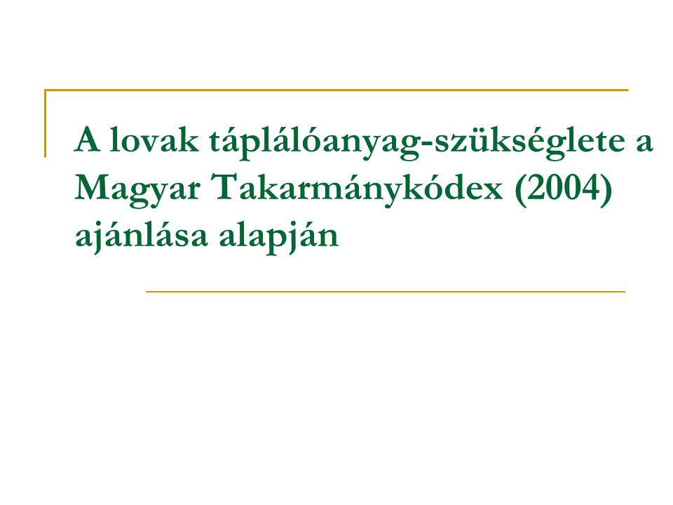 A lovak táplálóanyag-szükséglete a Magyar Takarmánykódex (2004) ajánlása alapján