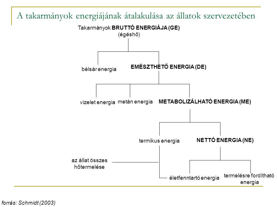 A takarmányok energiájának átalakulása az állatok szervezetében forrás: Schmidt (2003) Takarmányok BRUTTÓ ENERGIÁJA (GE) (égéshő) bélsár energia EMÉSZTHETŐ ENERGIA (DE) vizelet energia metán energiaMETABOLIZÁLHATÓ ENERGIA (ME) NETTÓ ENERGIA (NE) termikus energia életfenntartó energia termelésre fordítható energia az állat összes hőtermelése
