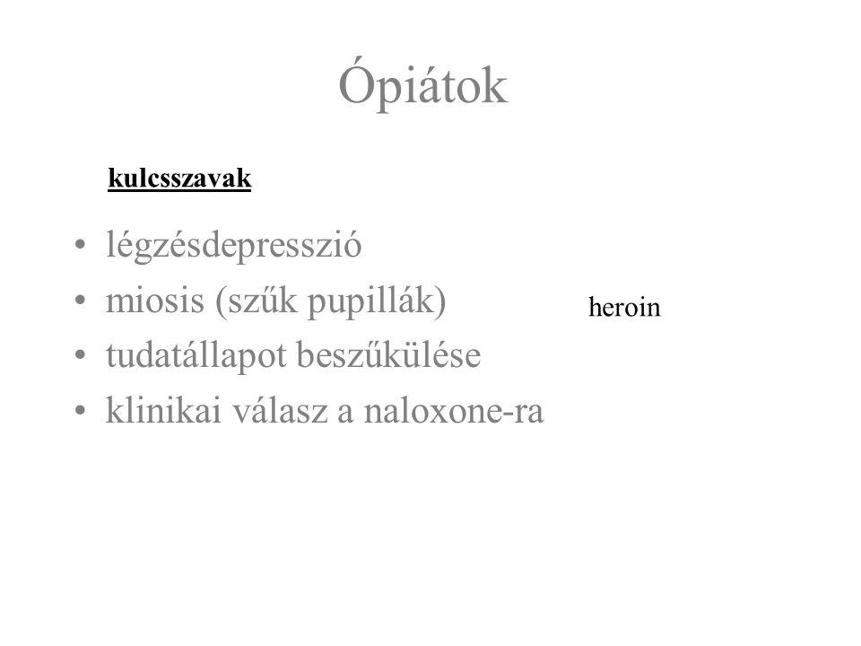 Ópiátok légzésdepresszió miosis (szűk pupillák) tudatállapot beszűkülése klinikai válasz a naloxone-ra kulcsszavak heroin