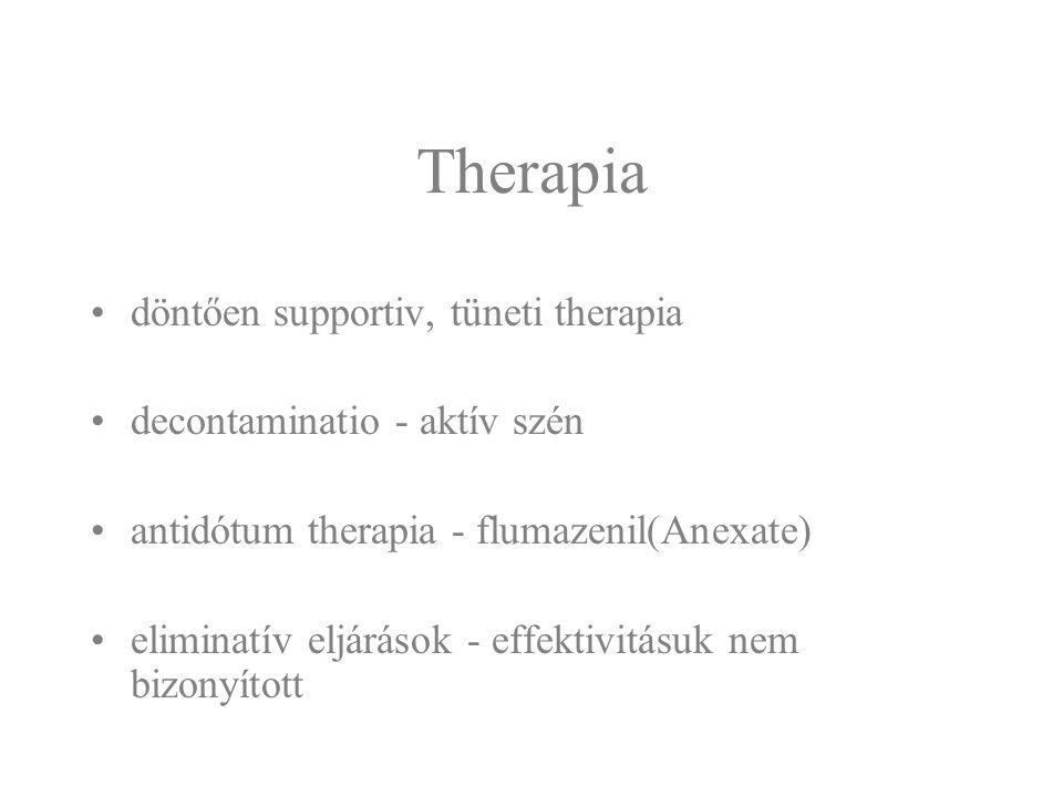Therapia döntően supportiv, tüneti therapia decontaminatio - aktív szén antidótum therapia - flumazenil(Anexate) eliminatív eljárások - effektivitásuk