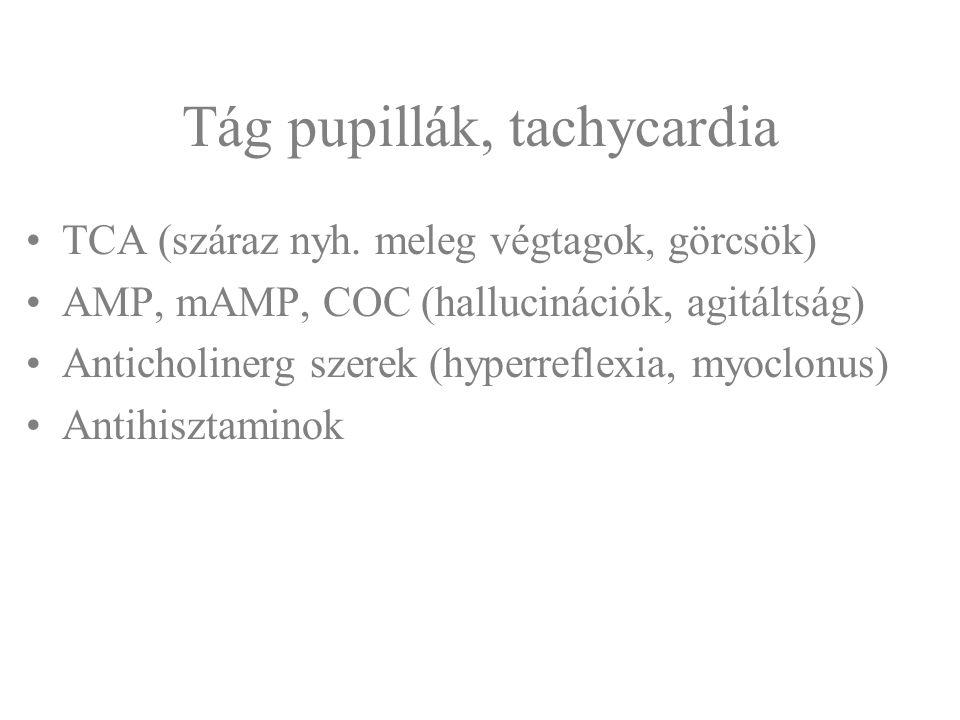 Tág pupillák, tachycardia TCA (száraz nyh. meleg végtagok, görcsök) AMP, mAMP, COC (hallucinációk, agitáltság) Anticholinerg szerek (hyperreflexia, my